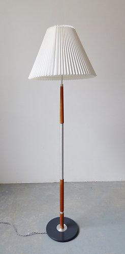 Mid-century Danish aluminium and teak floor lamp with pleated shade