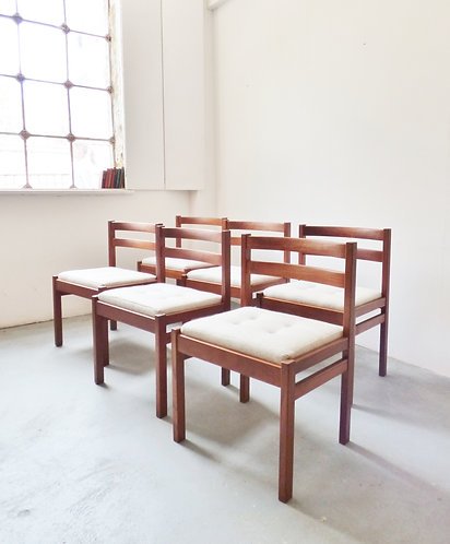 1970s Danish teak dining chairs w/ buttoned seats