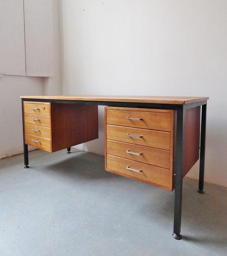 Large Danish teak and metal desk 1960s