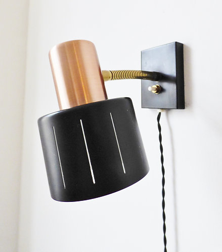 1960s Danish copper and black wall lamp by Vitrika