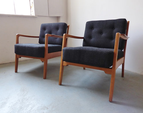 1950s Danish beech lounge chairs with buttoned wool cushions