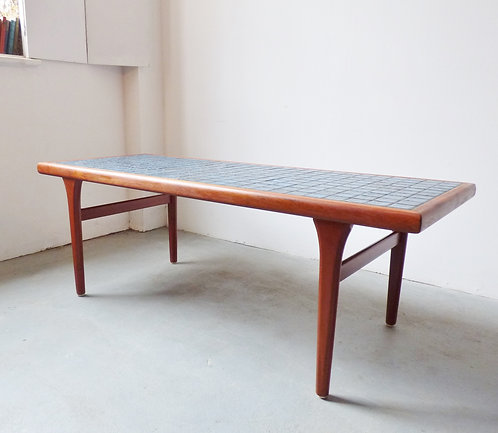 1960s Danish teak coffee table with blue tiles