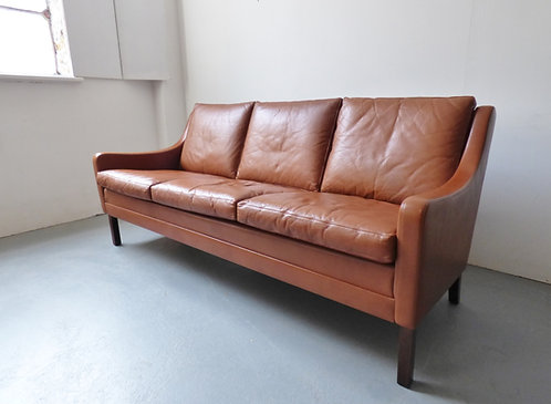Vintage leather 3 seater sofa - dark tan