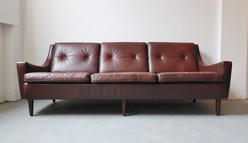 Mid-century Danish brown leather 3 seater