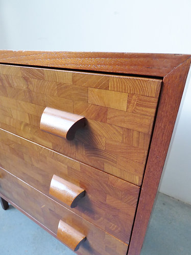 1950s Danish teak chest with inlaid drawer fronts