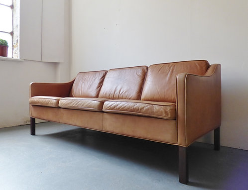 Vintage Danish tan leather sofa