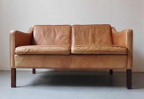 Danish tan leather sofa 2 seat