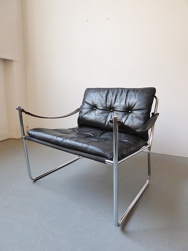 1970s chrome and leather lounge chairs