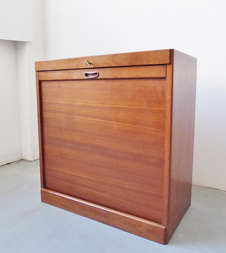 Mid-century Danish teak tambour filing cabinet