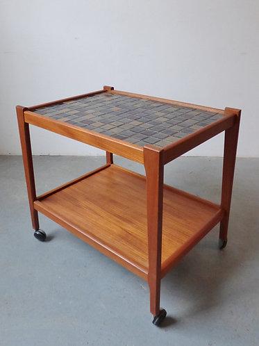 1960s Danish teak trolley with ceramic tiles