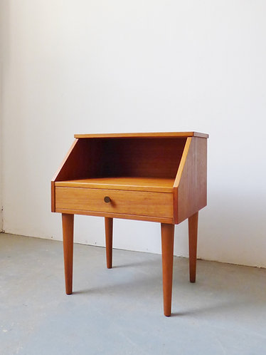 1960s Danish teak bedside table with drawer
