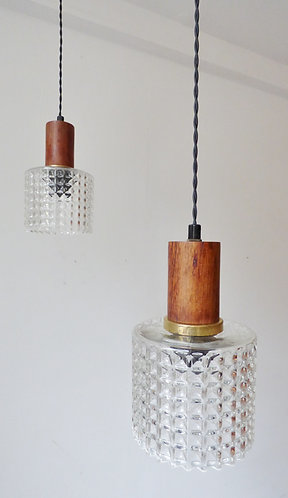 Mid-century Danish rosewood and glass pendant lamps