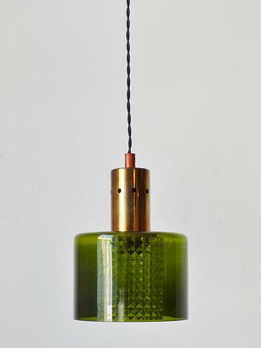 1960s green glass and brass pendant light