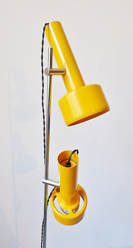 1970s Danish yellow enamel standard lamp