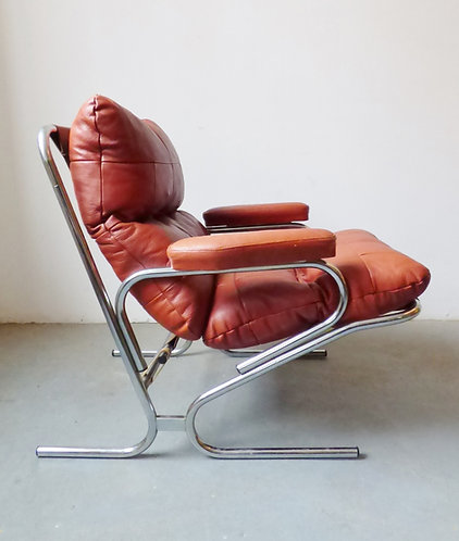 1970s Danish leather and chrome armchair from Skipper Furniture