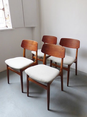 Mid-century Danish teak and oak dining chairs set of 4