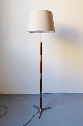 Mid-century chrome and rosewood standard lamp