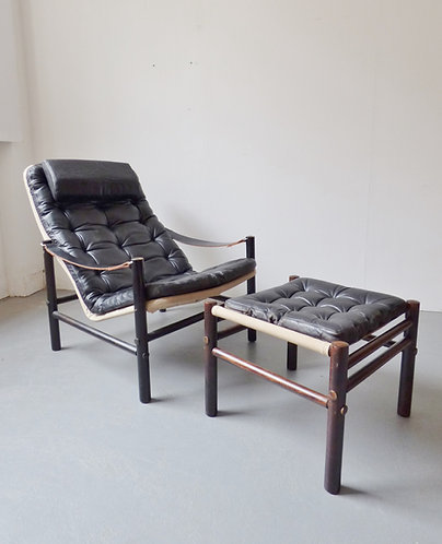 Junker lounge chair with footstool by Bror Boije for Dux
