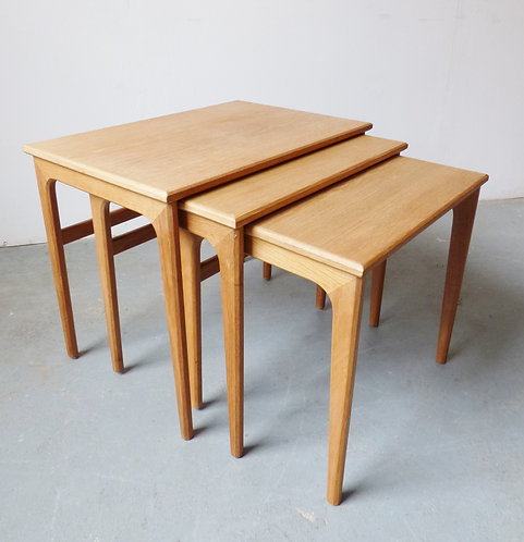 1970s Danish light oak nest of tables