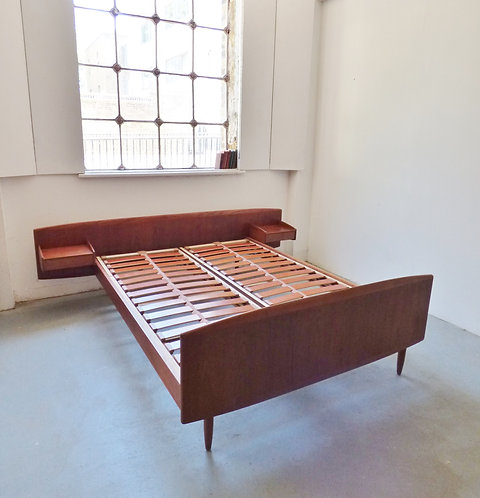 1960s Danish double teak bed with sidetables