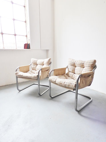 Pair of 1970s Danish metal tubular chairs