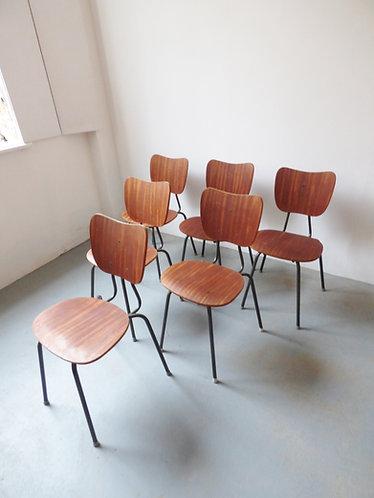 1960s Danish school stacking chairs set of 6