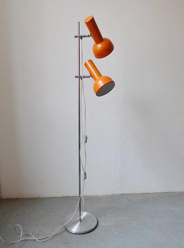 1970s Danish chrome and orange enamel standard lamp