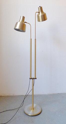 Vintage Danish brass standard lamp with 2 adjustable shades