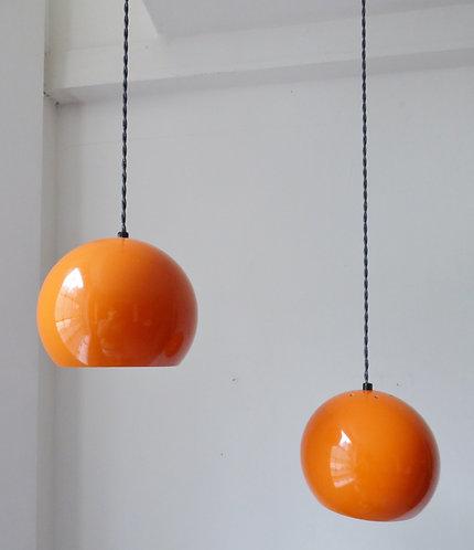 Pair of Danish orange enamel pendant lights 1970s