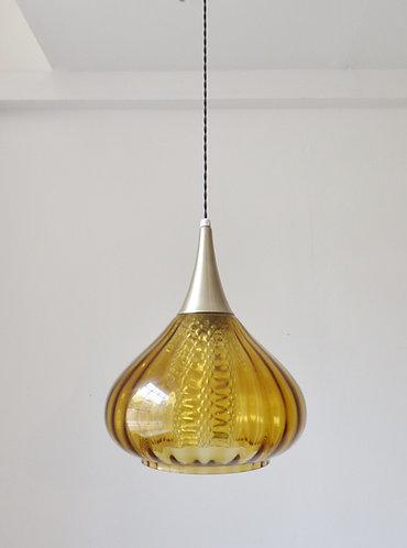 Vintage Scandinavian glass and aluminium pendant lamp