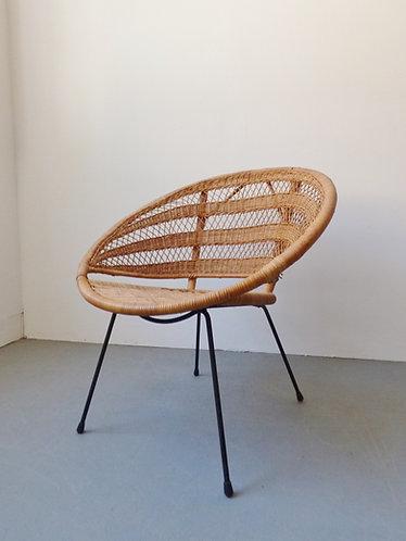 1960s Danish wicker bamboo chair