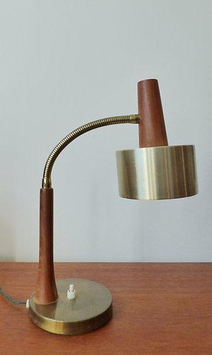 Mid-century Danish teak and brass desk lamp