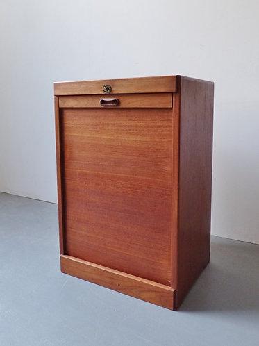1960s Danish filing cabinet tambour doors