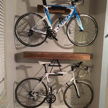 Barnwood Floating Shelves/Bike Rack