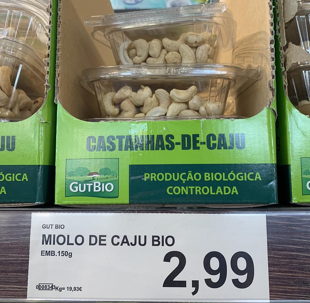 Castanha de caju em Portugal