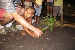 Crianças aprendendo a plantar