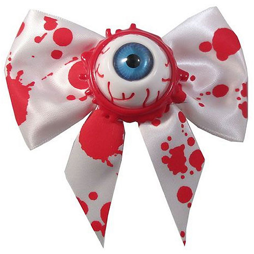 KREEPSVILLE 666 HAIR BOW SINGLE EYEBALL SPLATTER BLUE BLOODY HORROR HALLOWEEN
