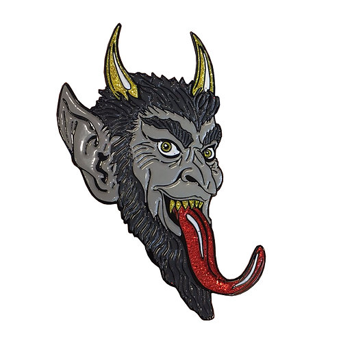 KREEPSVILLE 666 KRAMPUS SMILE PIN NEW LAPEL ENAMEL HORROR GOTH CHRISTMAS GLITTER