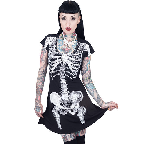KREEPSVILLE 666 WOMENS SKELETON WHITE FLARE DRESS