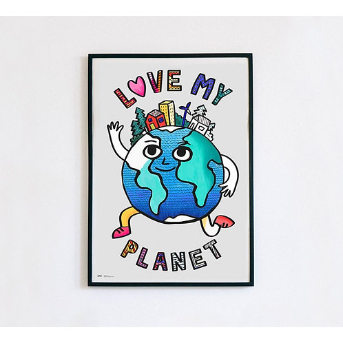 Poster géant à colorier love my planet