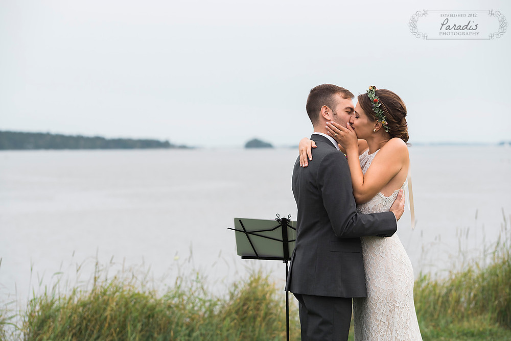 first kiss at freeport maine wedding ceremony