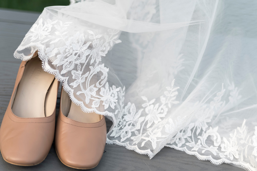 free trade shoes with wedding dress at village by the sea in wells maine