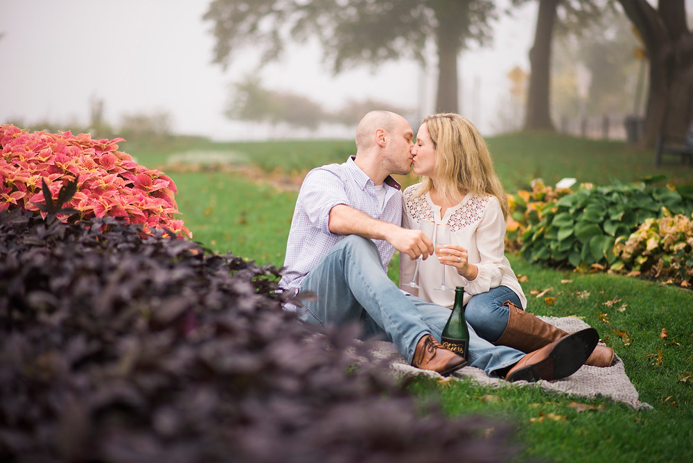romantic engagement session in prescott park portsmouth new hampshire by maine wedding photographer paradis photography