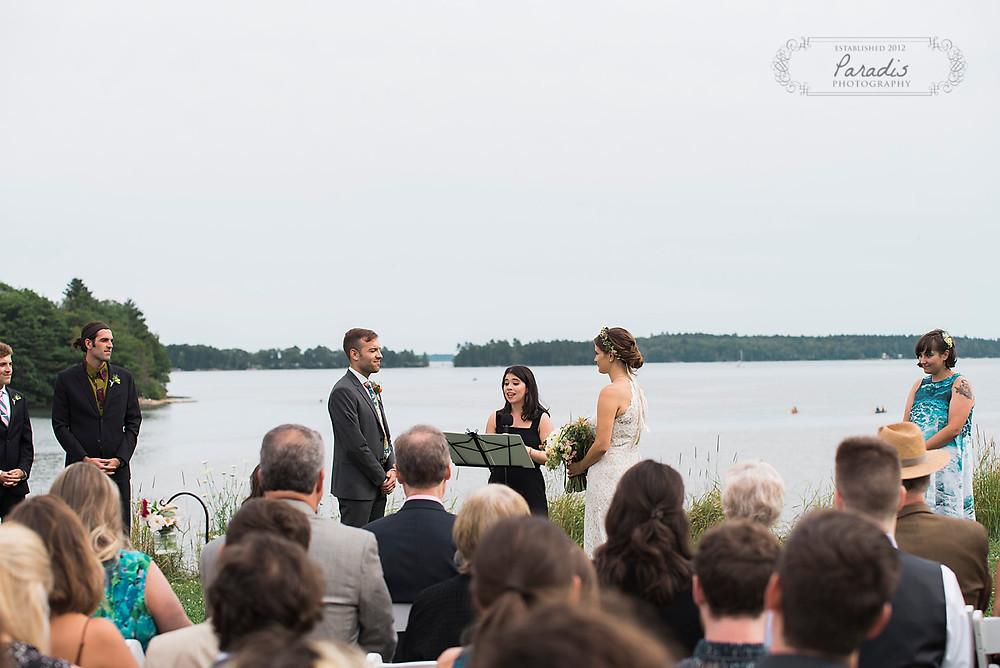 freeport maine wedding ceremony at wolfe's neck farm