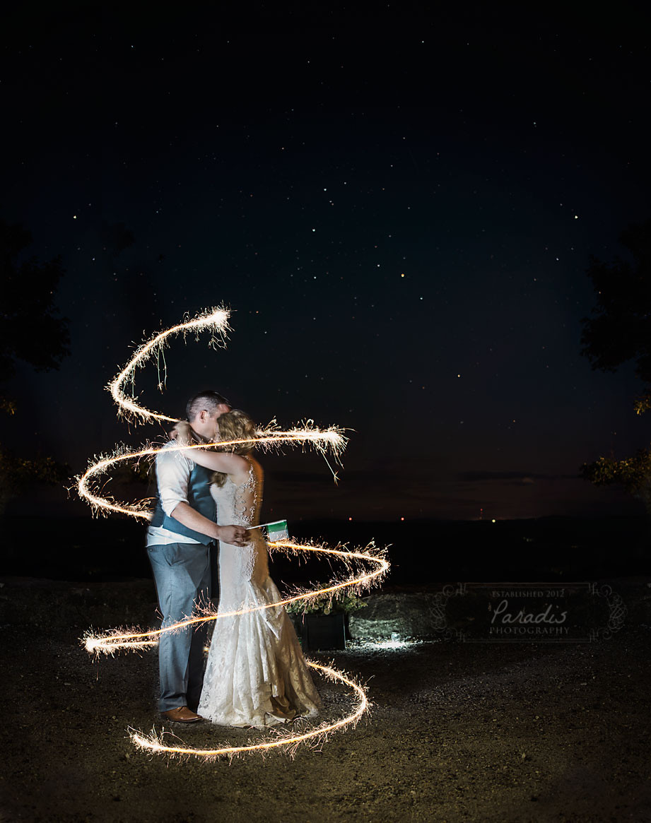 Bride and groom amongst the stars at the end of their Maine wedding at Granite Ridge Estate