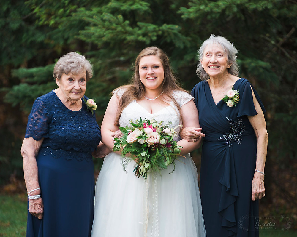 Bride with Grandmothers on her wedding day