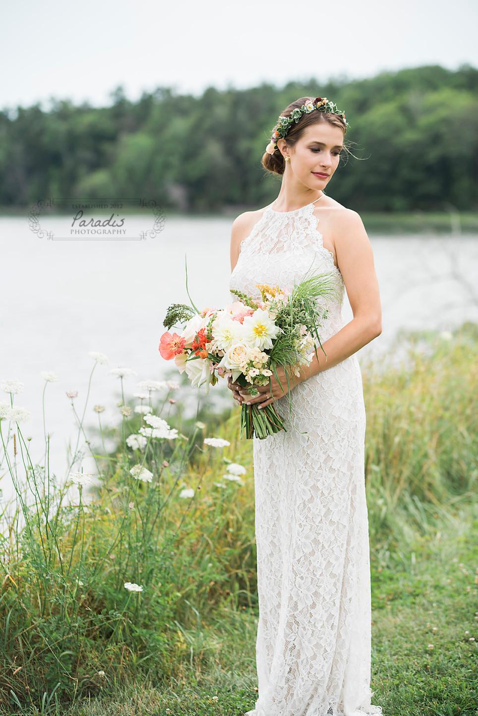 elegant bride at her maine wedding at wolfe's neck farm