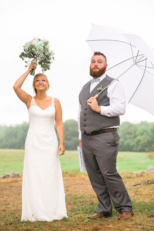 rain on your wedding day is good luck maine wedding photographer