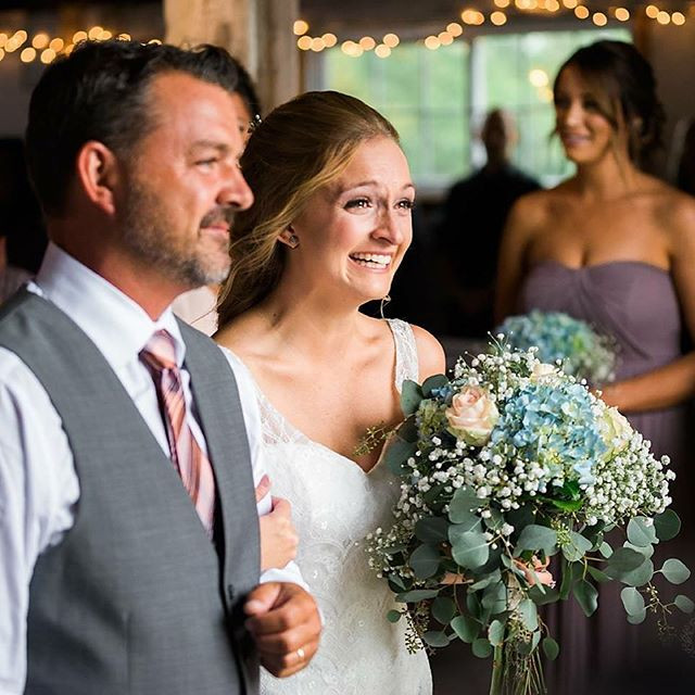 father of the bride walking down the aisle at shady lane farm maine wedding venue
