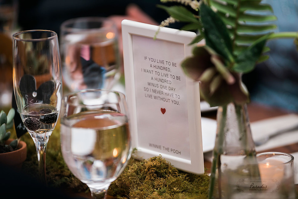 centerpiece idea and quote at maine wedding